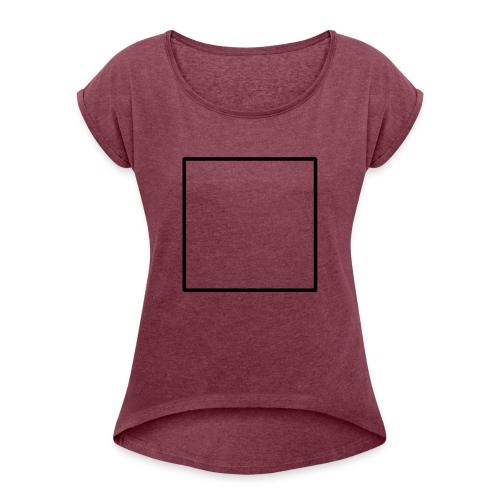 Square t shirt black - Vrouwen T-shirt met opgerolde mouwen