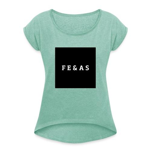 FEAS WHITE T-SHIRT - Vrouwen T-shirt met opgerolde mouwen