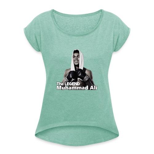 Muhammad_ali - Vrouwen T-shirt met opgerolde mouwen