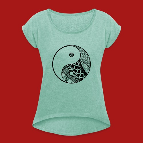 Decorative-Yin-Yang - Dame T-shirt med rulleærmer