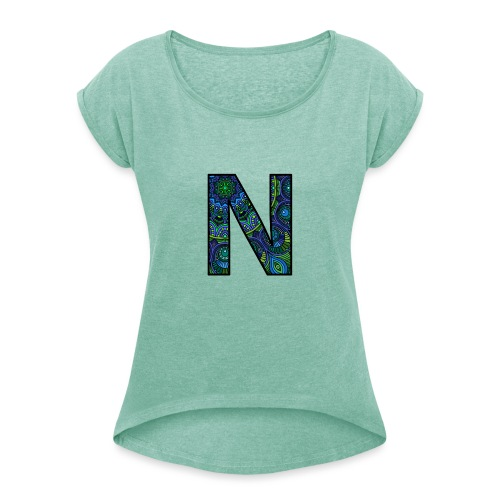 Letra N Mandala - Camiseta con manga enrollada mujer
