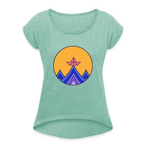 papierboot2 - Frauen T-Shirt mit gerollten Ärmeln