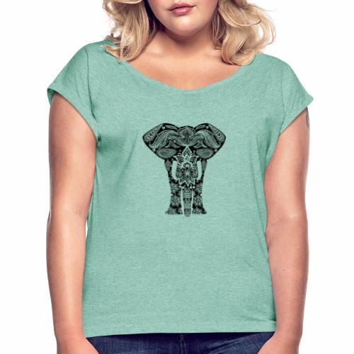 Ażurowy słoń - Koszulka damska z lekko podwiniętymi rękawami