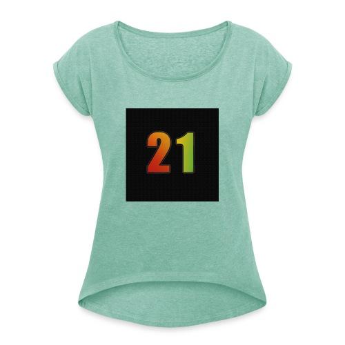 21 Hoody - Frauen T-Shirt mit gerollten Ärmeln