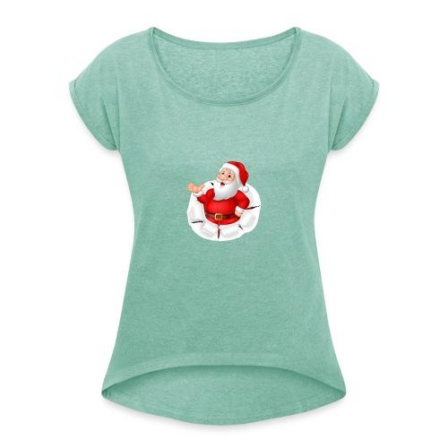 Weihnachtsmann - Frauen T-Shirt mit gerollten Ärmeln