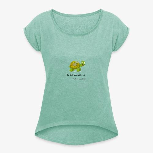 turtle rueckseite - Frauen T-Shirt mit gerollten Ärmeln