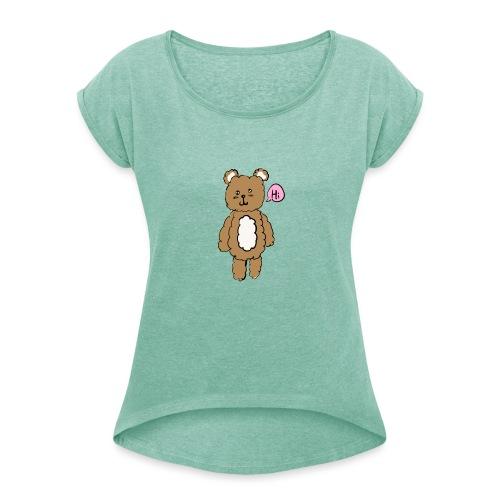 88651DC1 82D2 4592 9FBE 424B823BF98A - T-shirt med upprullade ärmar dam