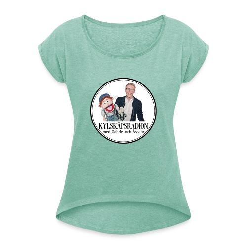 Kylskåpsradions logga - T-shirt med upprullade ärmar dam