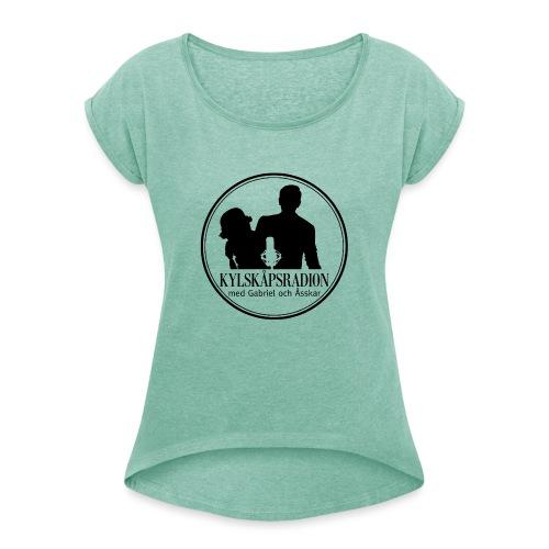 Logga helsvart - T-shirt med upprullade ärmar dam
