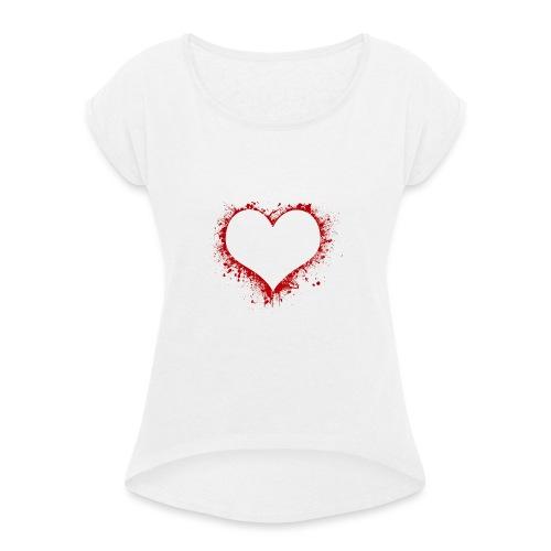 Herz/Heart - Frauen T-Shirt mit gerollten Ärmeln