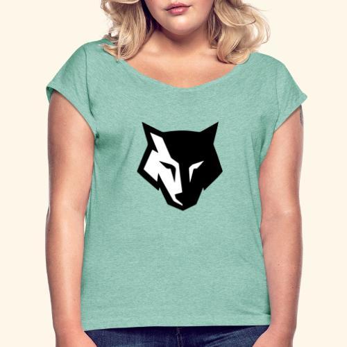 Loup noir et blanc - T-shirt à manches retroussées Femme