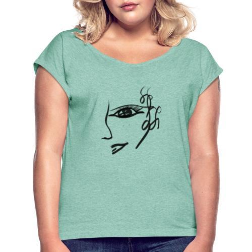Gesicht - Frauen T-Shirt mit gerollten Ärmeln