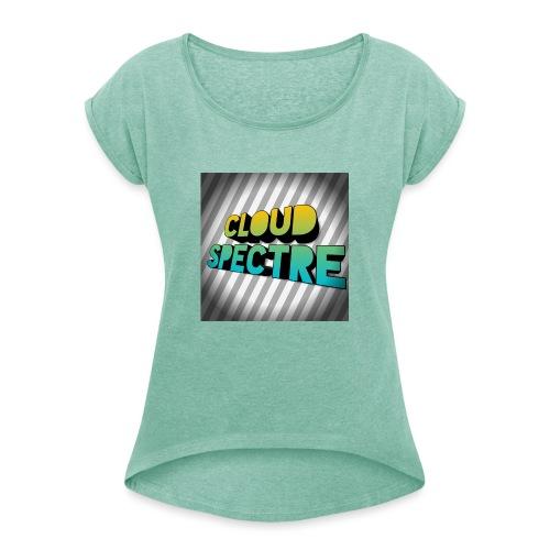 cloud merch - Vrouwen T-shirt met opgerolde mouwen