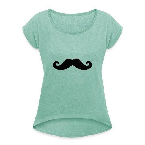 mustache - T-skjorte med rulleermer for kvinner