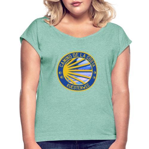 Jakobswegmotiv: Camino de la Costa/ Küstenweg - Frauen T-Shirt mit gerollten Ärmeln