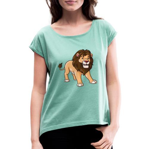 Löwe Comic süß - Frauen T-Shirt mit gerollten Ärmeln