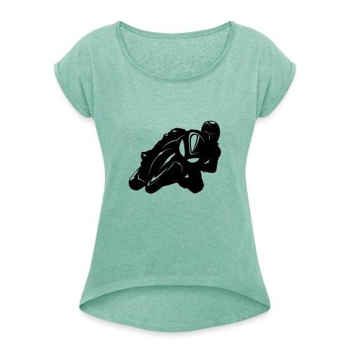 Biker Silhouette - Frauen T-Shirt mit gerollten Ärmeln