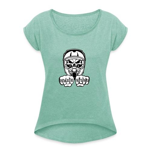 SDZJ Cross Logo - Frauen T-Shirt mit gerollten Ärmeln