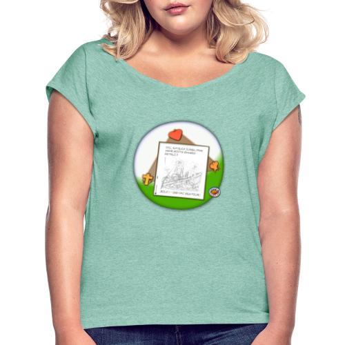 Petrus trifft Jesus - zu viele Fische ! - Frauen T-Shirt mit gerollten Ärmeln