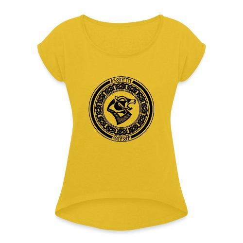 BjornfellRisingBlack - Naisten T-paita, jossa rullatut hihat