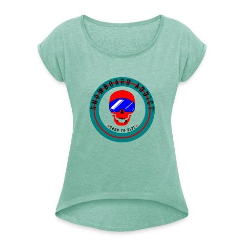 Skull Snowborder - T-shirt med upprullade ärmar dam