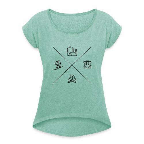 Wandern und Abenteuer - Frauen T-Shirt mit gerollten Ärmeln