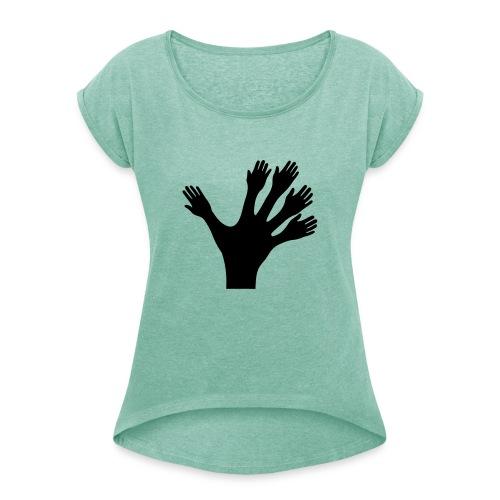1000 Hände viel Arbeit wackeln machen tun schnell - Frauen T-Shirt mit gerollten Ärmeln