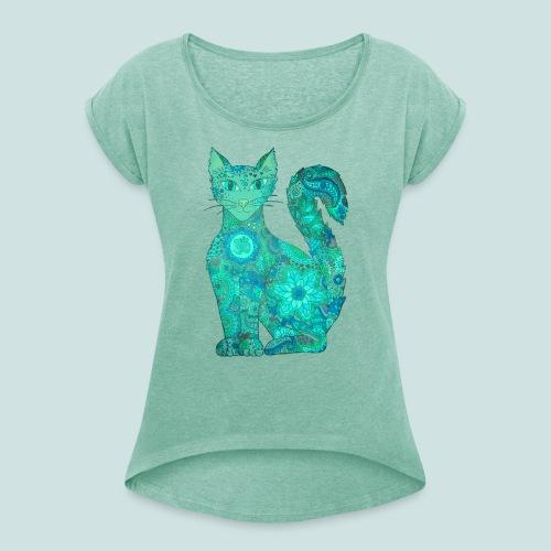 Seelenkatze grüntürkis - Frauen T-Shirt mit gerollten Ärmeln