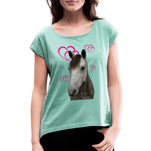 Hästälskare (Pilot) - T-shirt med upprullade ärmar dam