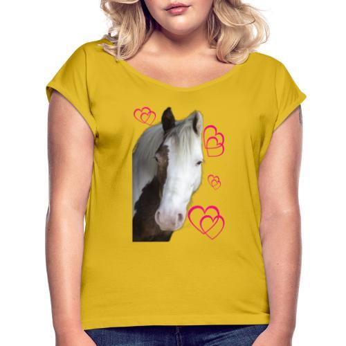 Hästälskare (Daisy) - T-shirt med upprullade ärmar dam