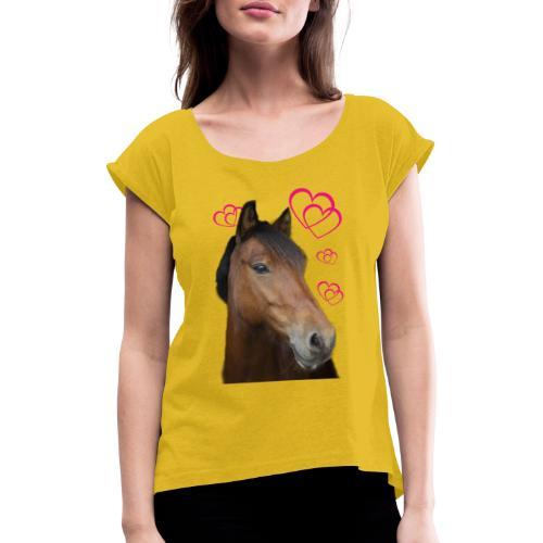 Hästälskare (Musse) - T-shirt med upprullade ärmar dam