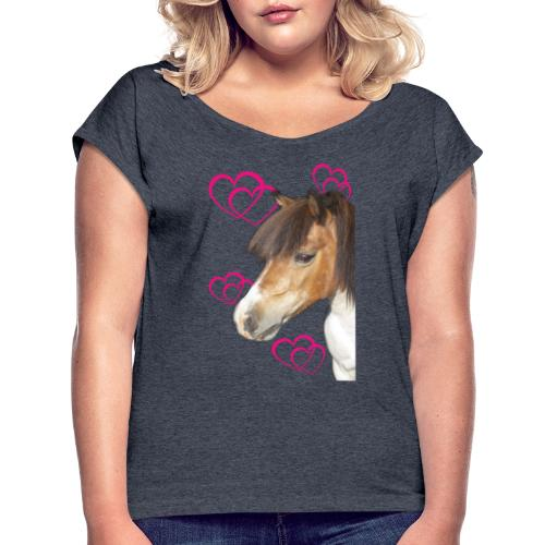 Hästälskare (Bella) - T-shirt med upprullade ärmar dam