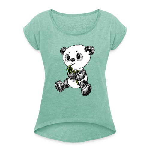 Panda Bär farbig scribblesirii - Frauen T-Shirt mit gerollten Ärmeln