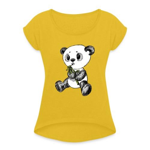 Panda bjørn farvet scribblesirii - Dame T-shirt med rulleærmer