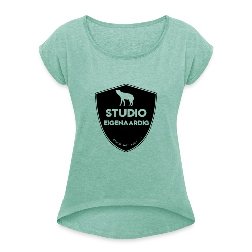 Zwart logo - Vrouwen T-shirt met opgerolde mouwen