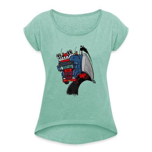 The flying skane man notext - Vrouwen T-shirt met opgerolde mouwen