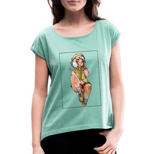 Automne - T-shirt à manches retroussées Femme