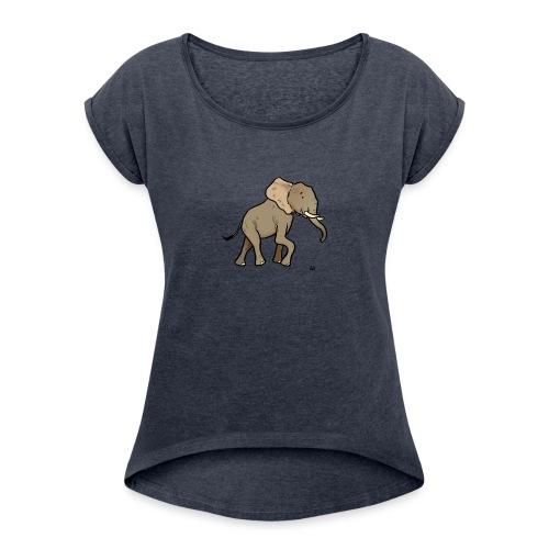 African Elephant - Frauen T-Shirt mit gerollten Ärmeln