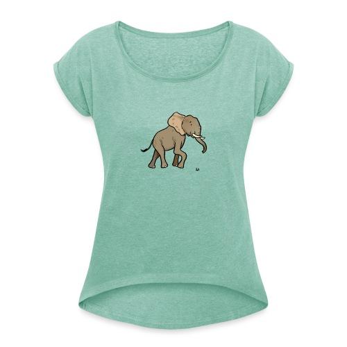 Éléphant d'Afrique - T-shirt à manches retroussées Femme
