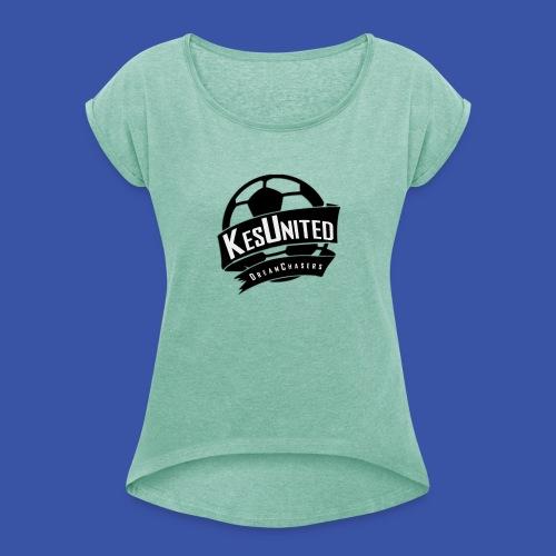Zwart/Wit KesUnited - Vrouwen T-shirt met opgerolde mouwen