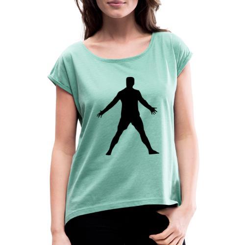 Cristiano Pose - Frauen T-Shirt mit gerollten Ärmeln