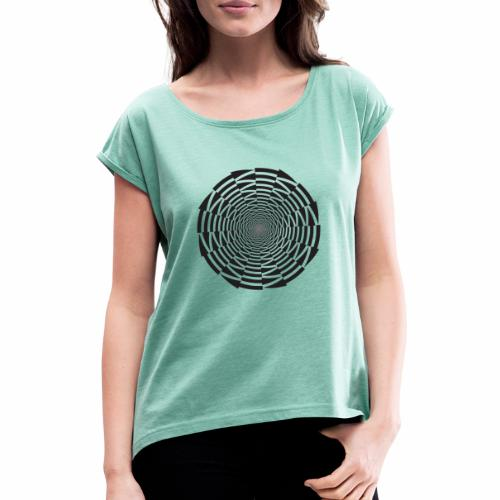 Illuusio tuote - Naisten T-paita, jossa rullatut hihat