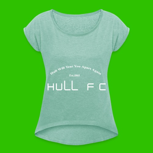 Hull FC Joy [White] - Women's T-Shirt with rolled up sleeves