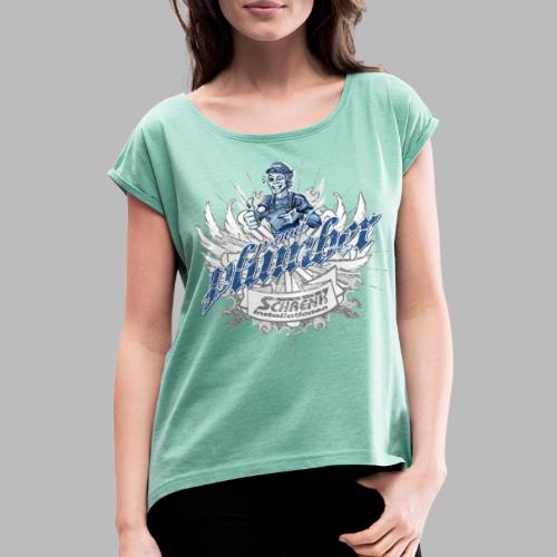 ProudPlumberPatch 2020 / Logo-Druck - Frauen T-Shirt mit gerollten Ärmeln