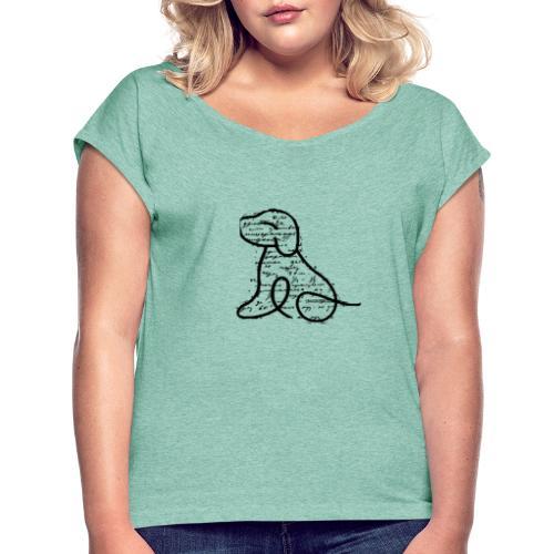 Hundemotiv - Frauen T-Shirt mit gerollten Ärmeln