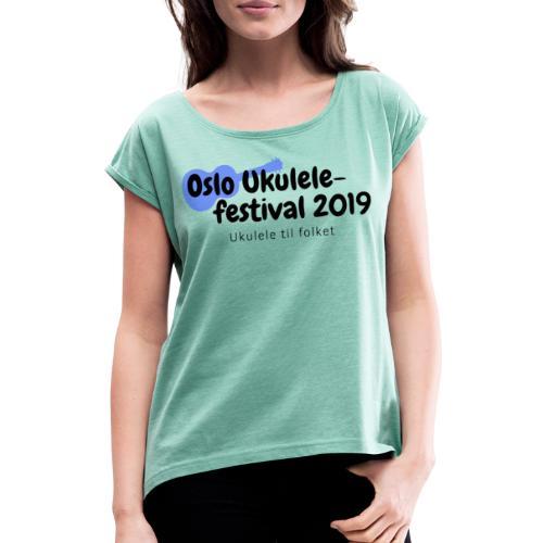 Oslo Ukulelefestival 2019 i svart - T-skjorte med rulleermer for kvinner