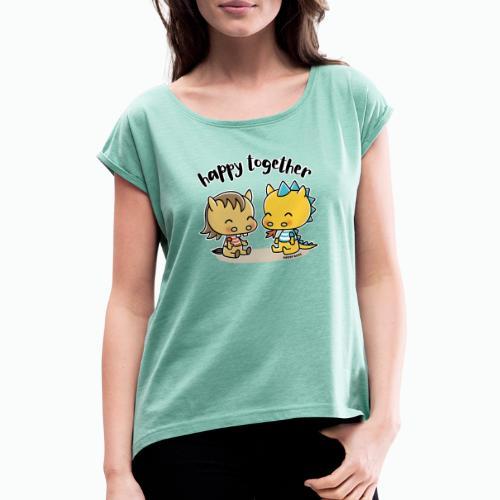 Happy Together - Pferd und Drache - Frauen T-Shirt mit gerollten Ärmeln