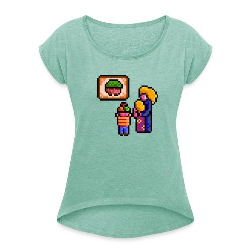 familycri - T-skjorte med rulleermer for kvinner