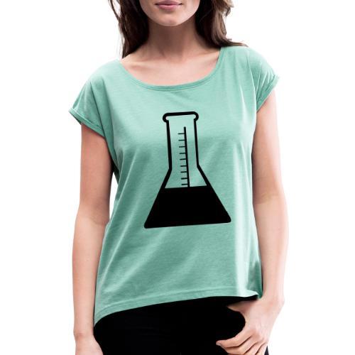 chemie schwarz - Frauen T-Shirt mit gerollten Ärmeln
