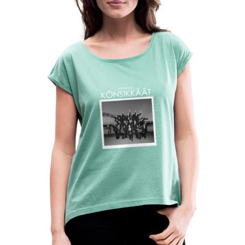 Könsikkäät - joulu saarella - Naisten T-paita, jossa rullatut hihat